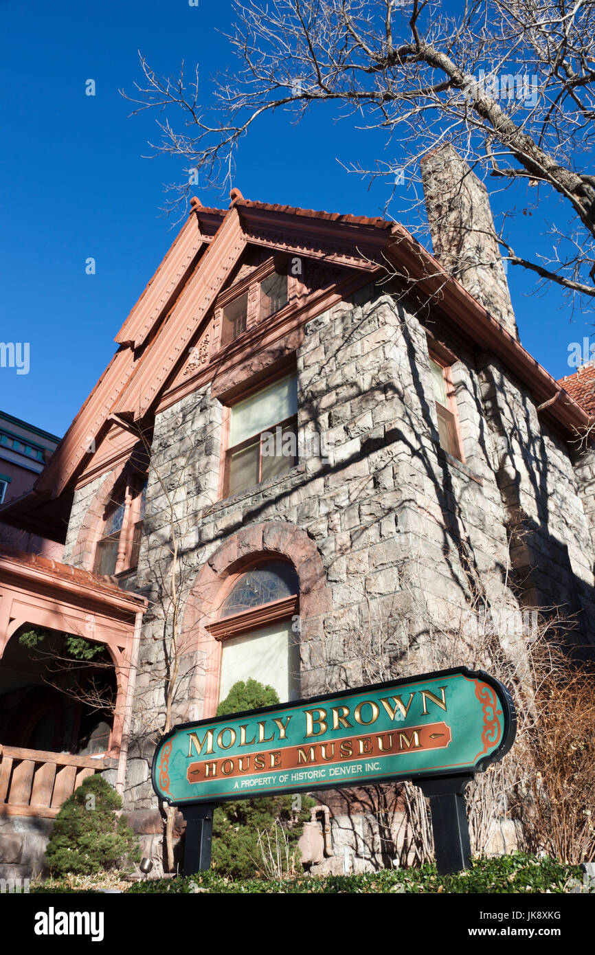 USA, Colorado, Denver, The Molly Brown House, former home of famous survivor of the Titanic sinking in 1912 - Stock Image