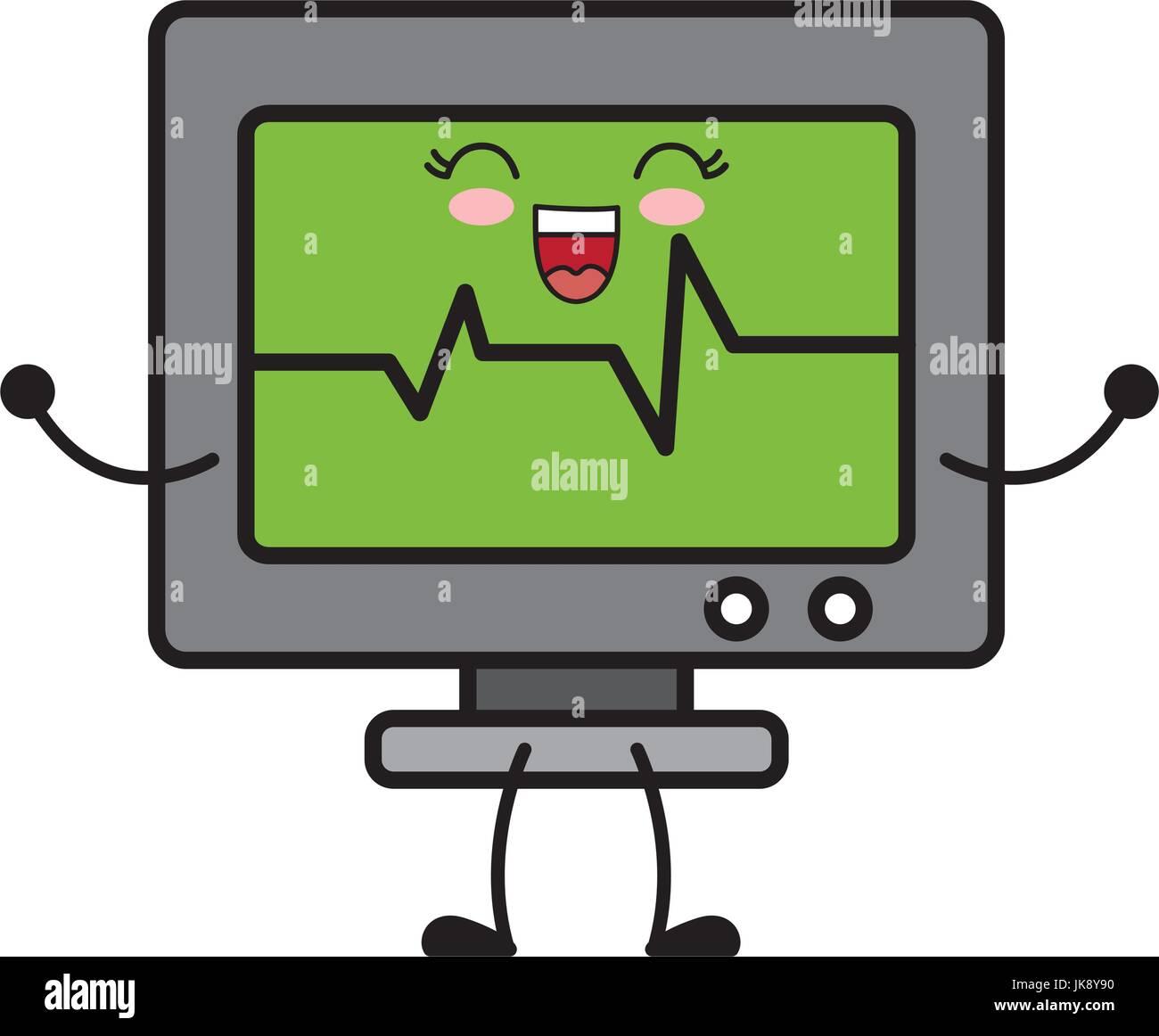 heart cardio monitor icon - Stock Image