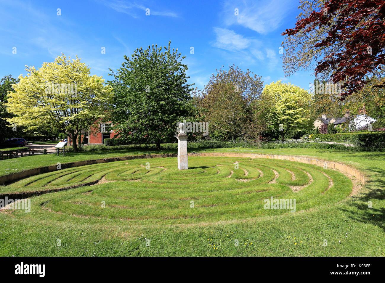 Summer, Hilton Turf Maze, Hilton village, Cambridgeshire, East Anglia, England, UK - Stock Image