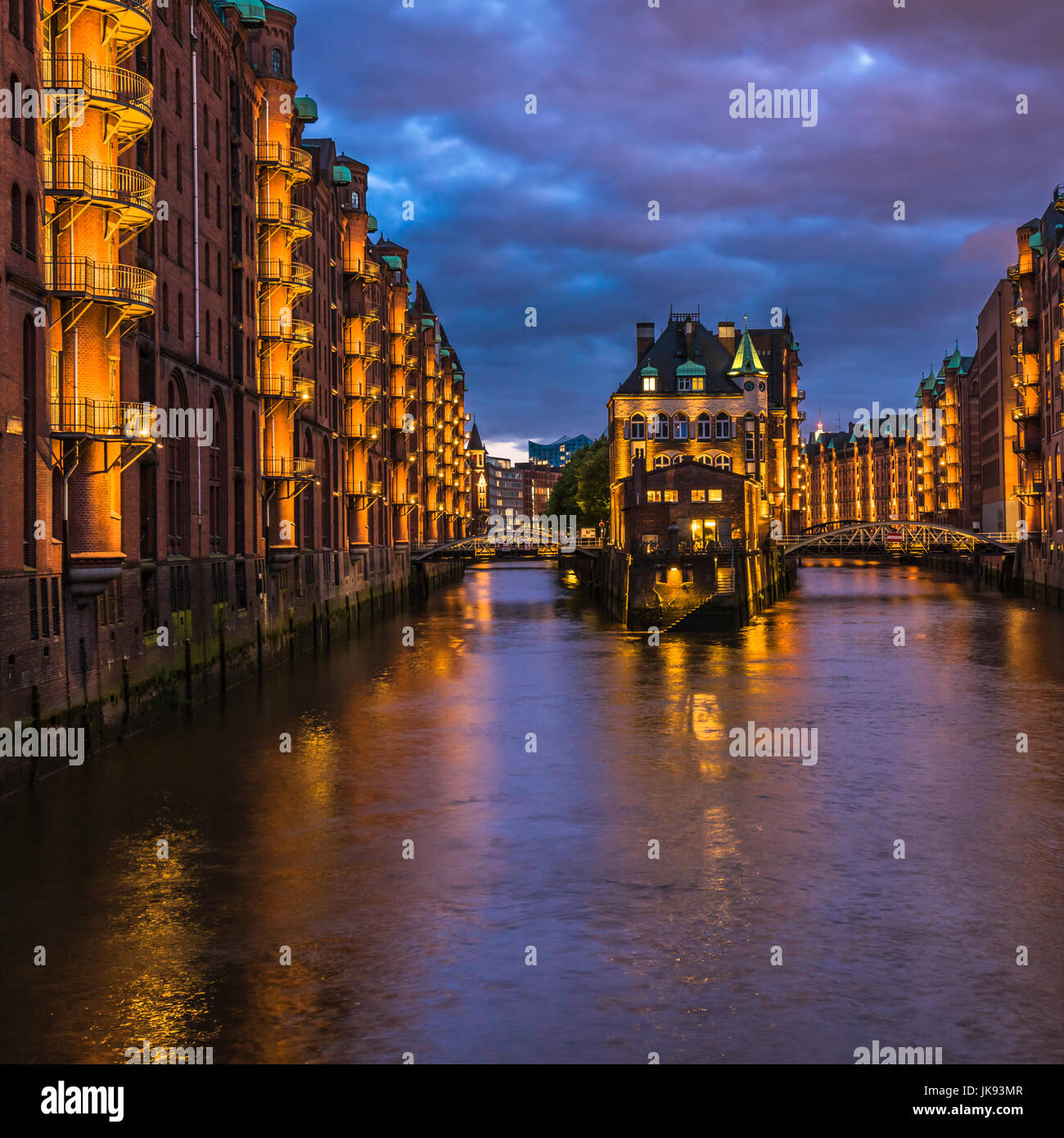 Water castle in old Speicherstadt or Warehouse district, Hamburg, Germany Stock Photo