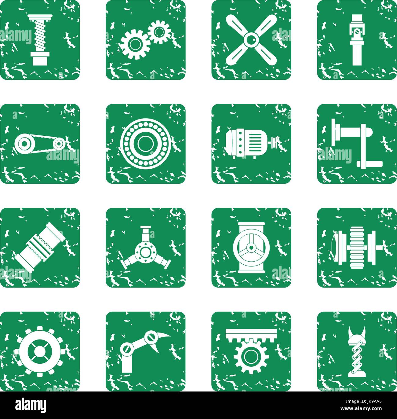 Techno mechanisms kit icons set grunge - Stock Image
