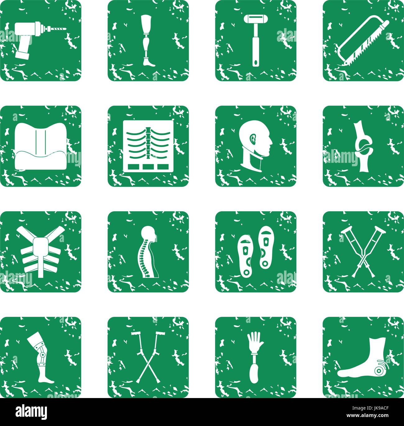 Orthopedics prosthetics icons set grunge - Stock Image