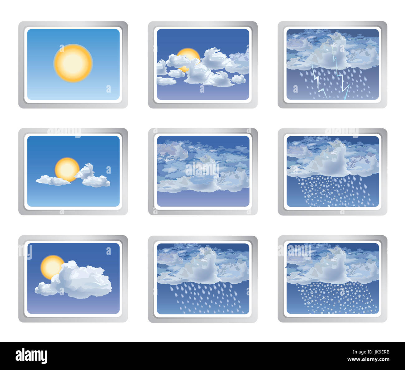 Weather report icon set. Sun with clouds buttons. Seasonal sign - Stock Image