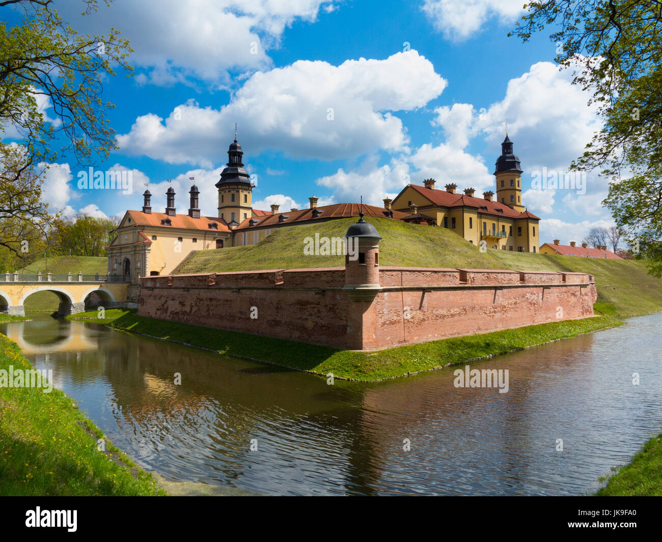 Radziwill family magnate property Niasvizh Castle in spring, Belarus, Europe - Stock Image