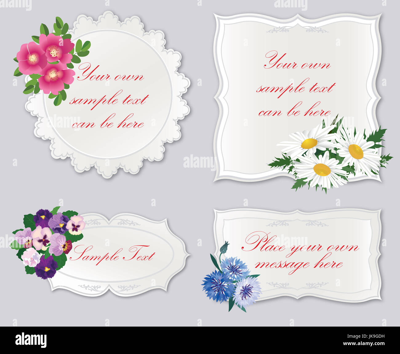 set of cute frame with flowers holiday floral card border background