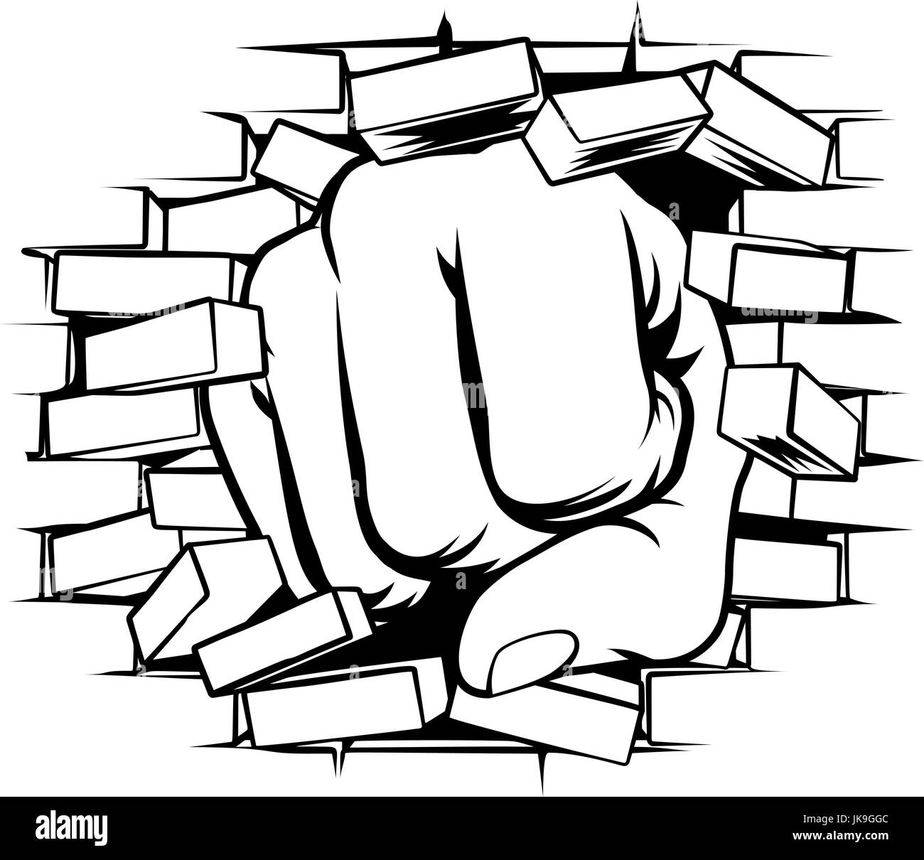 fist punching through brick wall stock vector art illustration rh alamy com