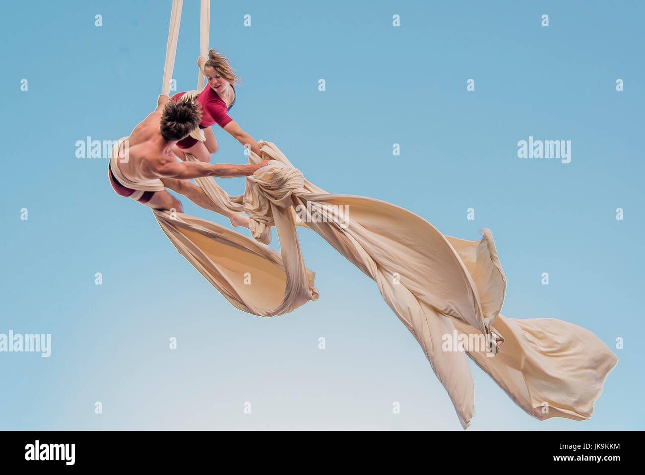 Acrobatics in a circus show in montreal canada - Stock Image