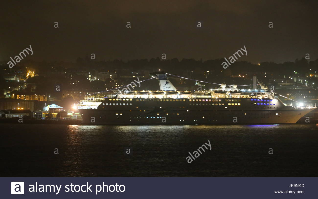 CMV cruise ship Magellan docked Dundee Scotland by night 21st July 2017 - Stock Image