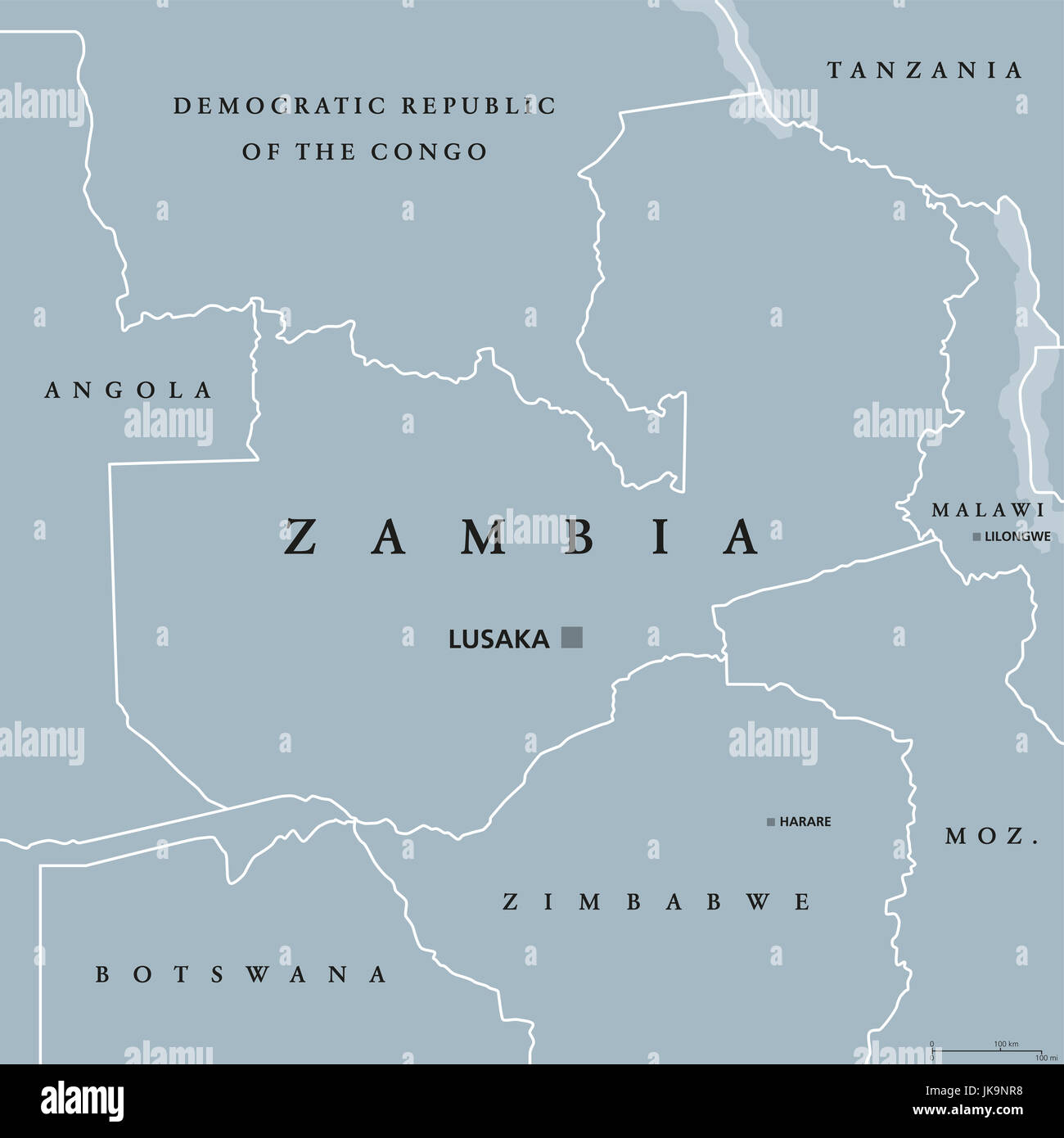 Zambia political map with capital Lusaka, international borders and neighbors. Republic and landlocked country in - Stock Image
