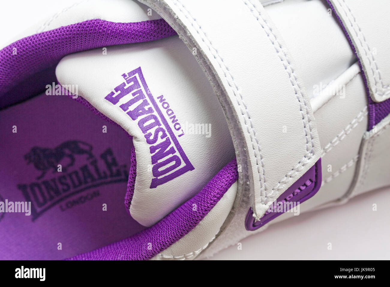 Lonsdale London detail on trainers with logo inside - Stock Image