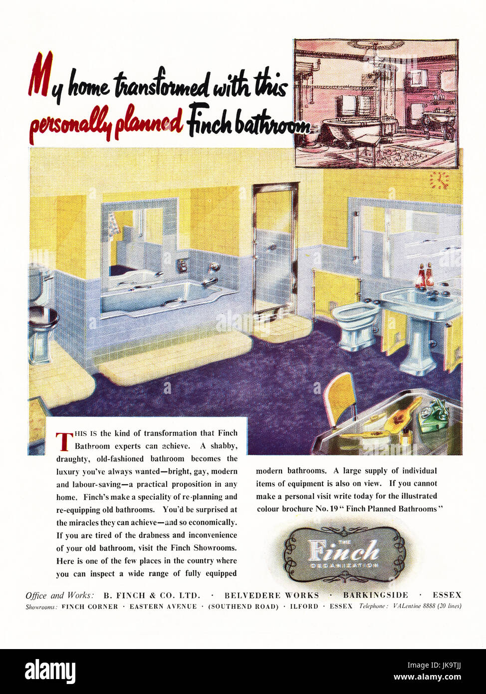 1950s original old vintage advertisement advertising Finch Bathroom company in magazine circa 1950 - Stock Image