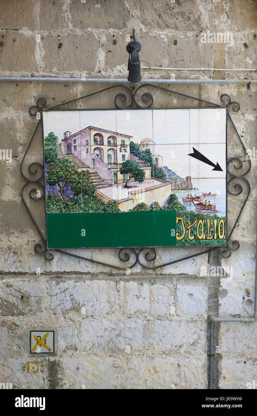 Italien, Kampanien, Amalfiküste, Positano,  Kachelbild, 'Italia'  Süditalien, Reiseziel, Haus, - Stock Image
