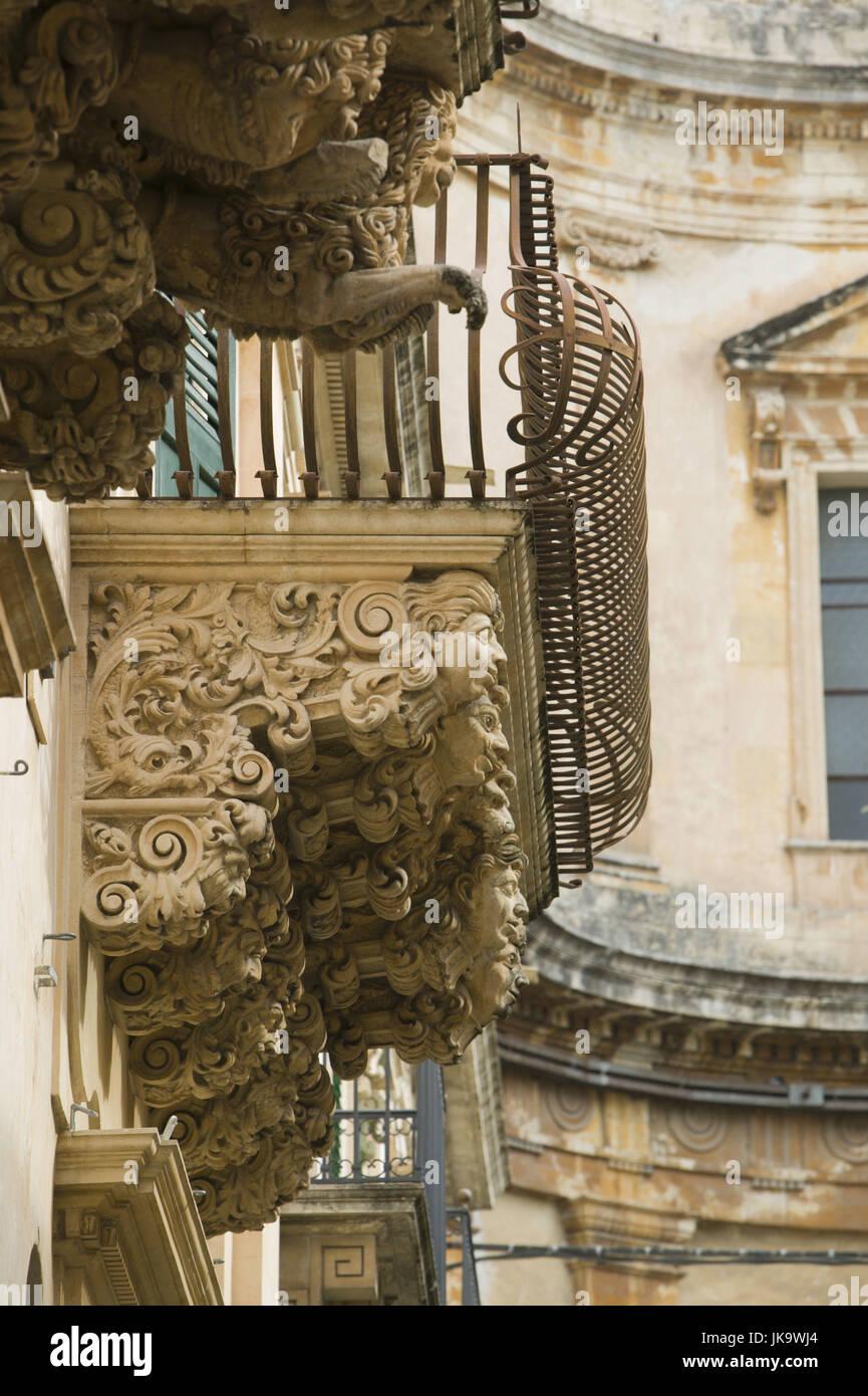 Italien, Insel Sizilien, Noto, Palazzo Villadorata,  Gebäude, Detail,   Süditalien, Reiseziel, Stadt, - Stock Image