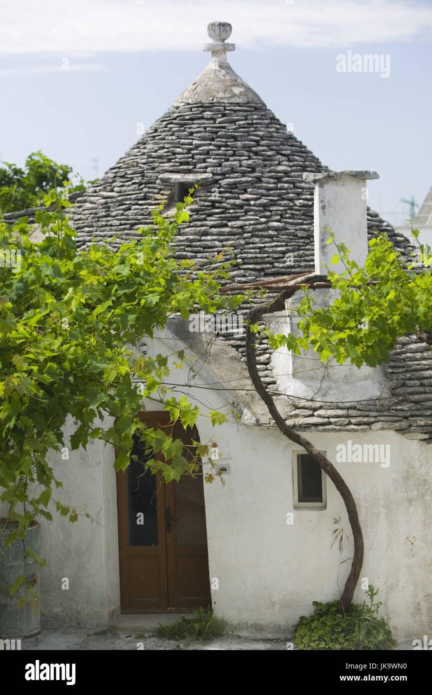Italien, Apulien, Alberobello, Haus, Trullo,    Süditalien, Reiseziel, Sehenswürdigkeit, Wahrzeichen, - Stock Image