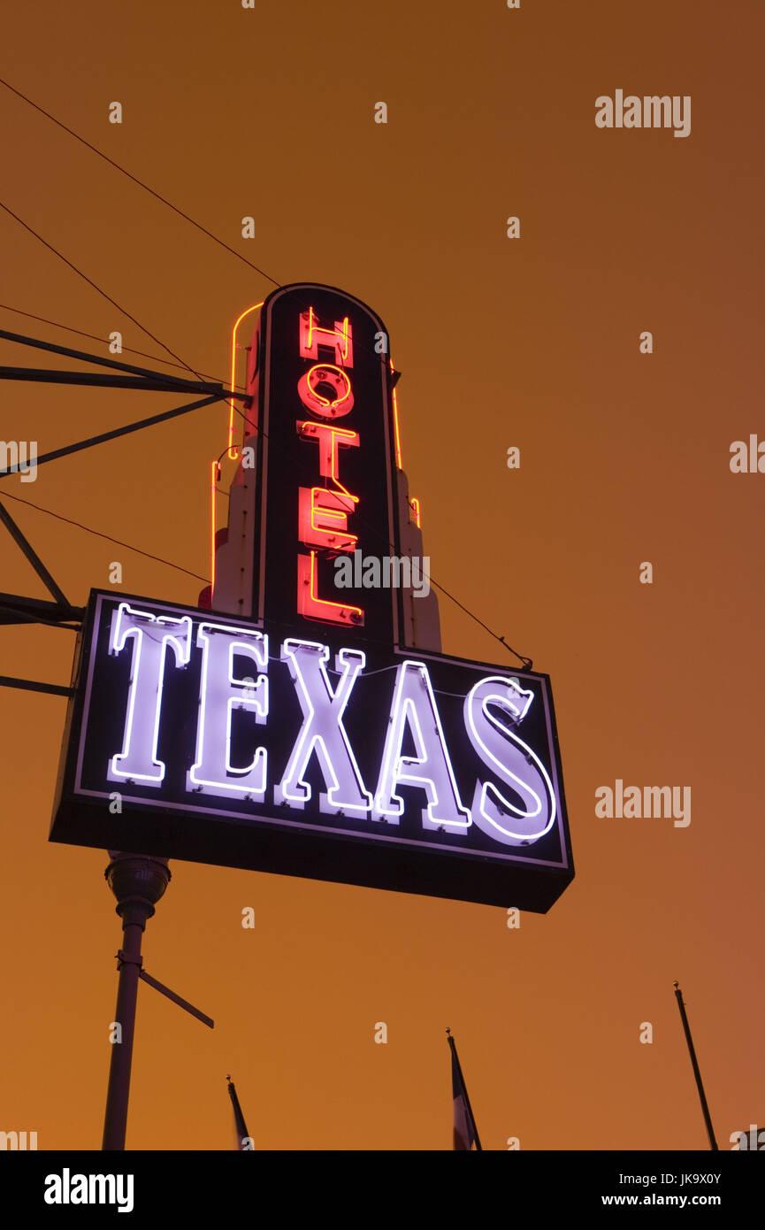 USA, Texas, Leuchtreklame, Neonlicht, Hinweisschild, Nahaufnahme - Stock Image
