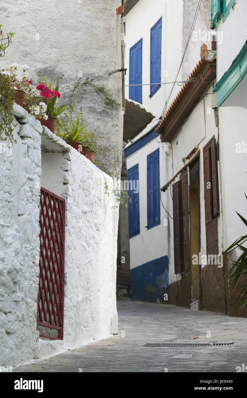 Griechenland, Insel Samos, Samos-Stadt,  Altstadt, Wohnhäuser, Detail, Gasse,   Europa, Mittelmeerinsel, Reiseziel, - Stock Image