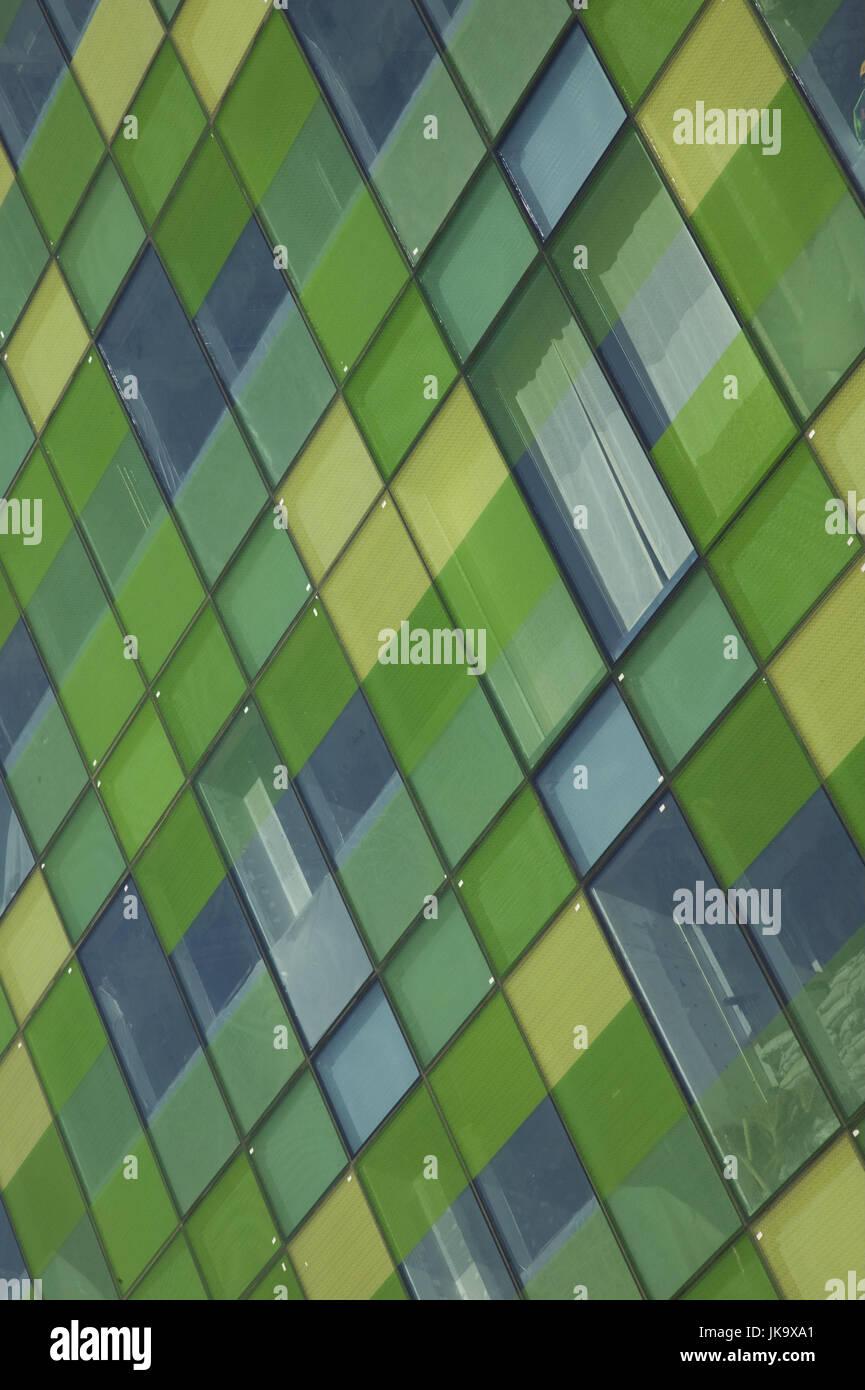 Hochhausfassade, close-up,    Hochhaus, Fassade, Fenster, grün, Konformität, gleich,  Bürohochhaus, - Stock Image