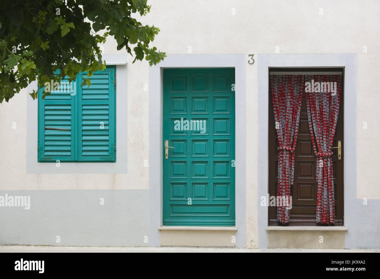 Kroatien, Zadar-Region, Insel Pag, Stadt Pag, Hausfassade, Detail, - Stock Image