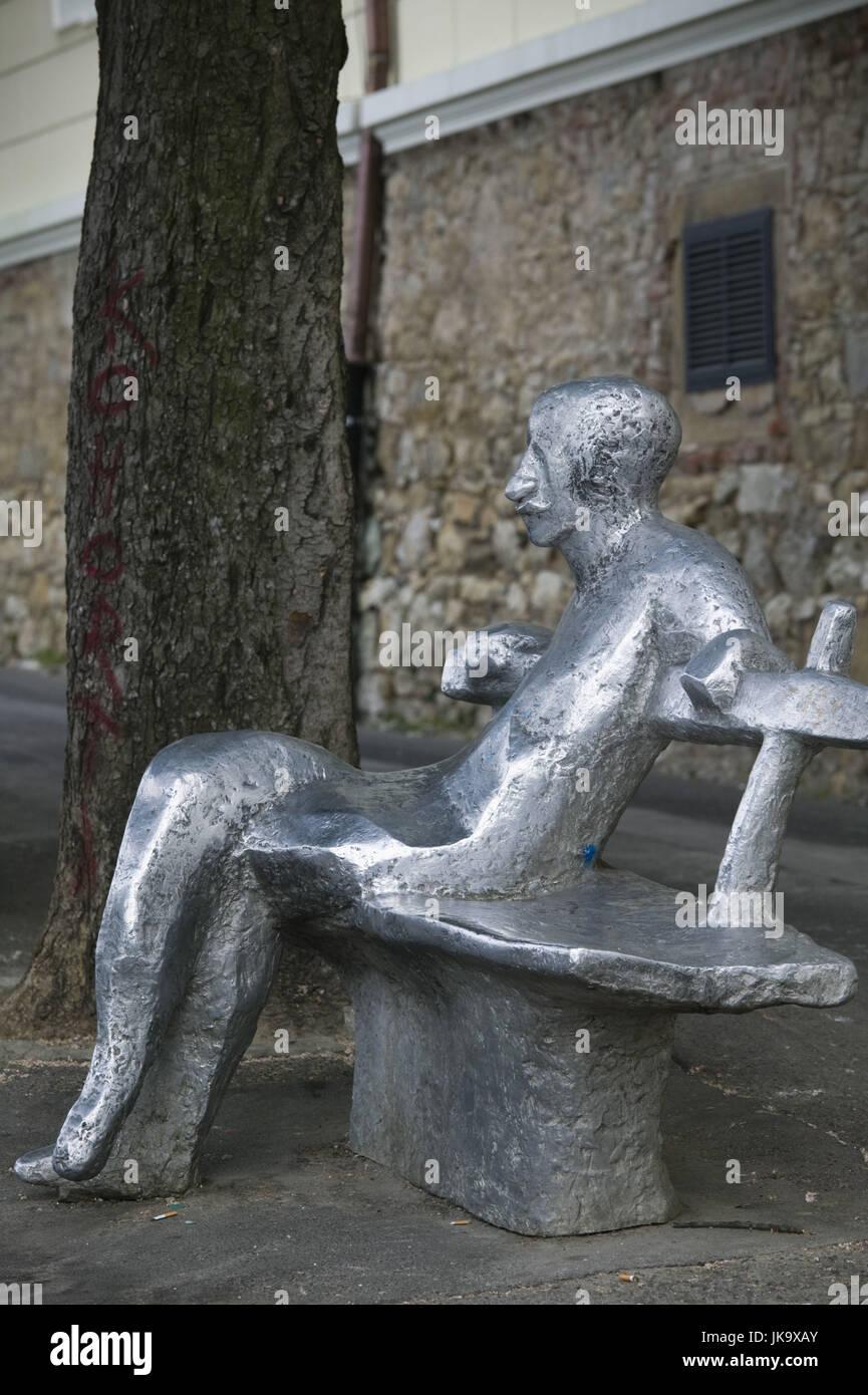 Kroatien, Zagreb, Oberstadt, Skulptur, Parkbank, Figur, sitzen, no property release, - Stock Image
