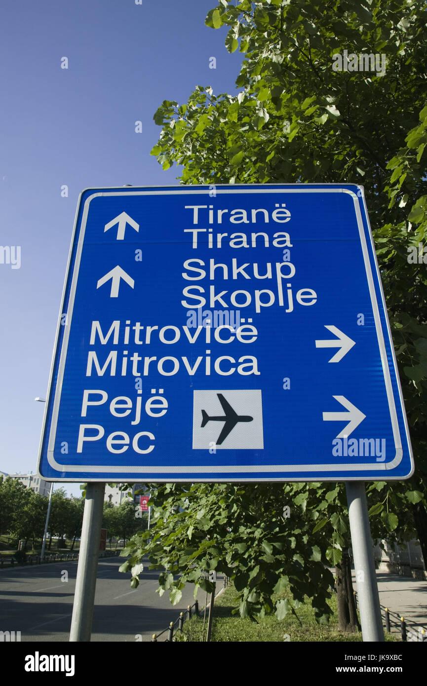 Kosovo, Prishtina, Straßenschild, Stock Photo