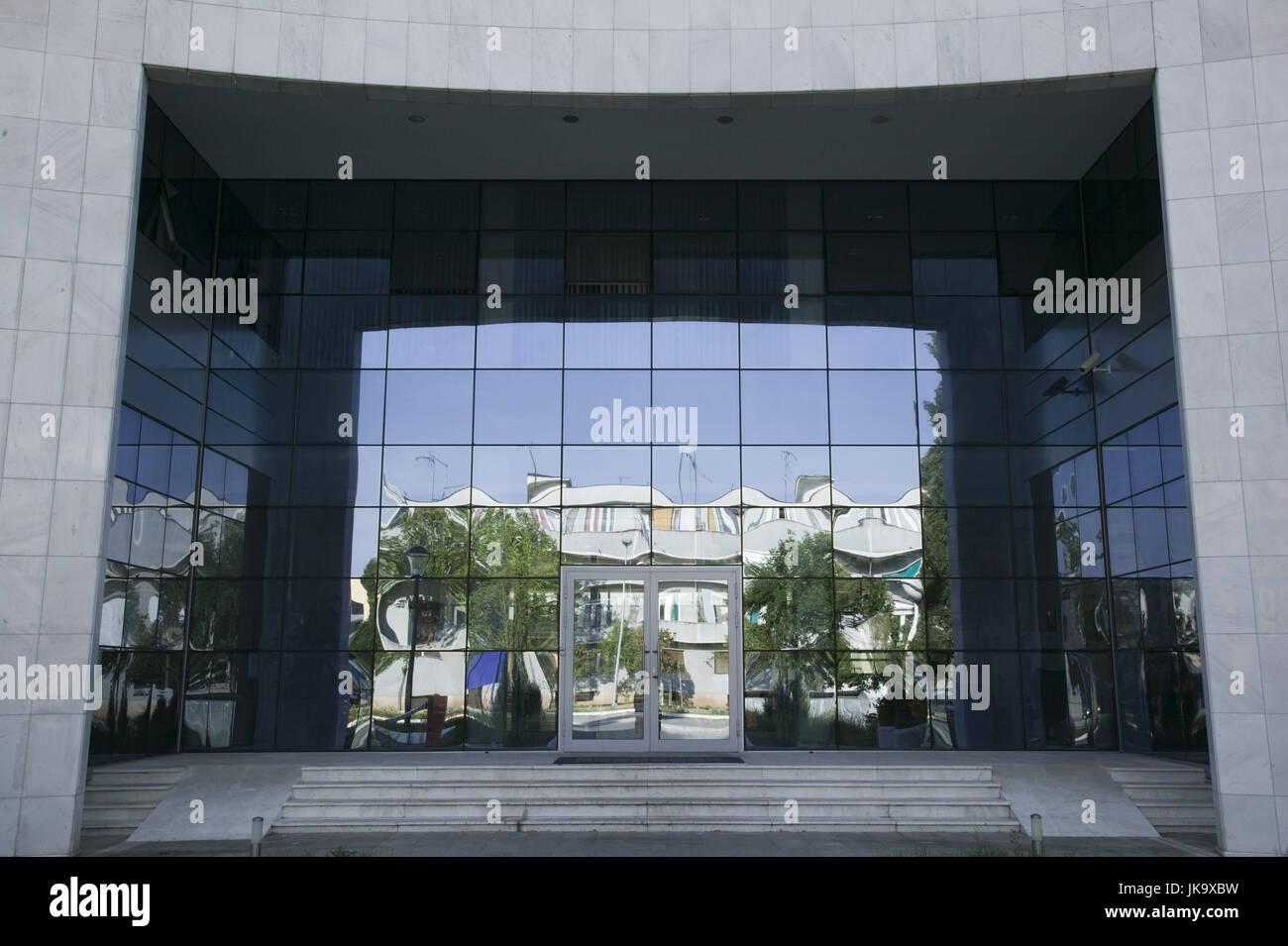 Montenegro, Podgorica, Hauptstadt, Parlamentsgebäude, außen, Detail, Eingangsbereich, - Stock Image
