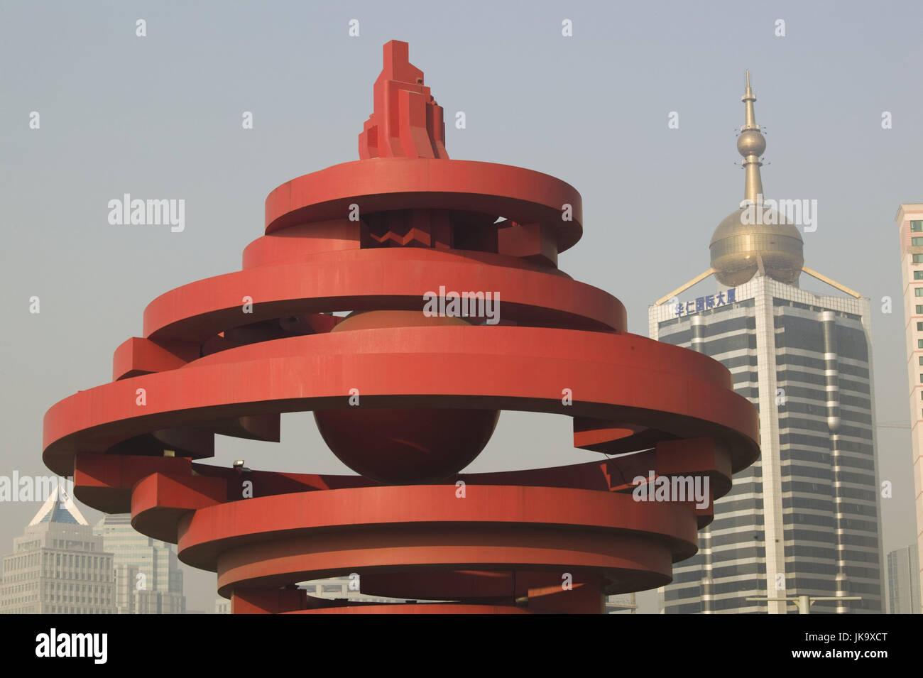 China, Qingdao, Xianggang Xilu,  Wusi Monument,   Asien, Ostasien, Stadt, Hochhäuser, Denkmal, Kunstwerk, Kunst, - Stock Image