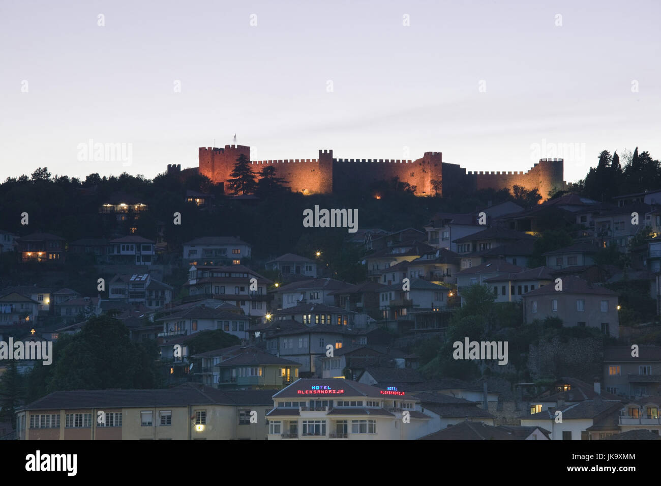 Mazedonien, Ohrid, Festung, Altstadt, Abend, - Stock Image