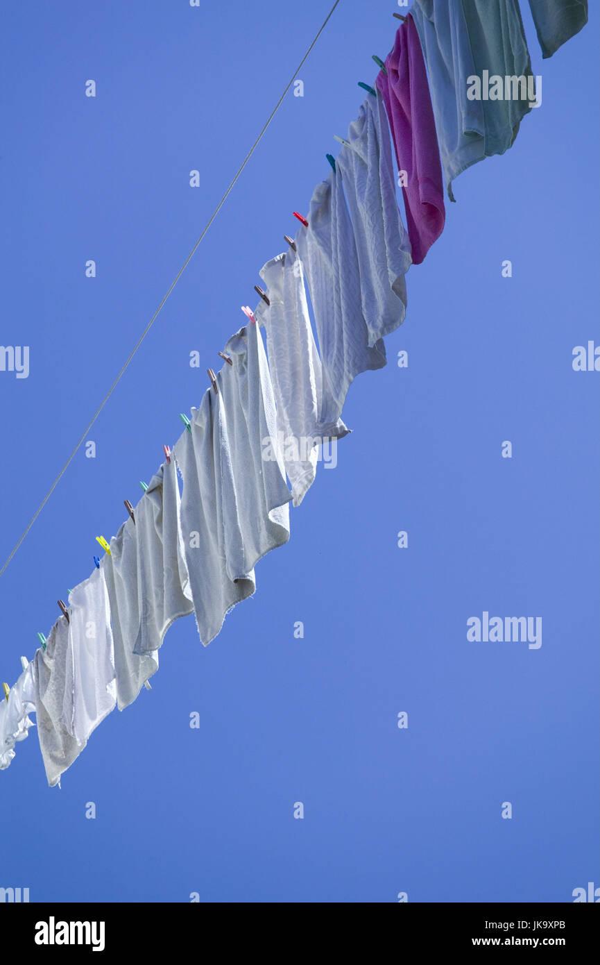 Wäscheleine, Wäsche, trocknen, außen, - Stock Image
