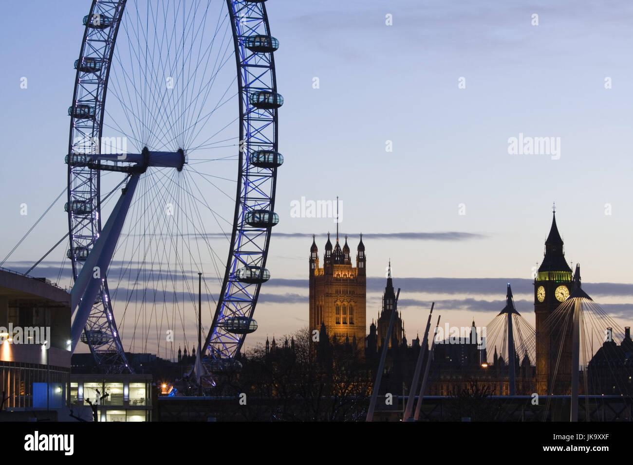 Großbritannien, England, London,  Stadtansicht, Houses of Parliament, London  Eye, Big Ben, Beleuchtung, Abend, - Stock Image