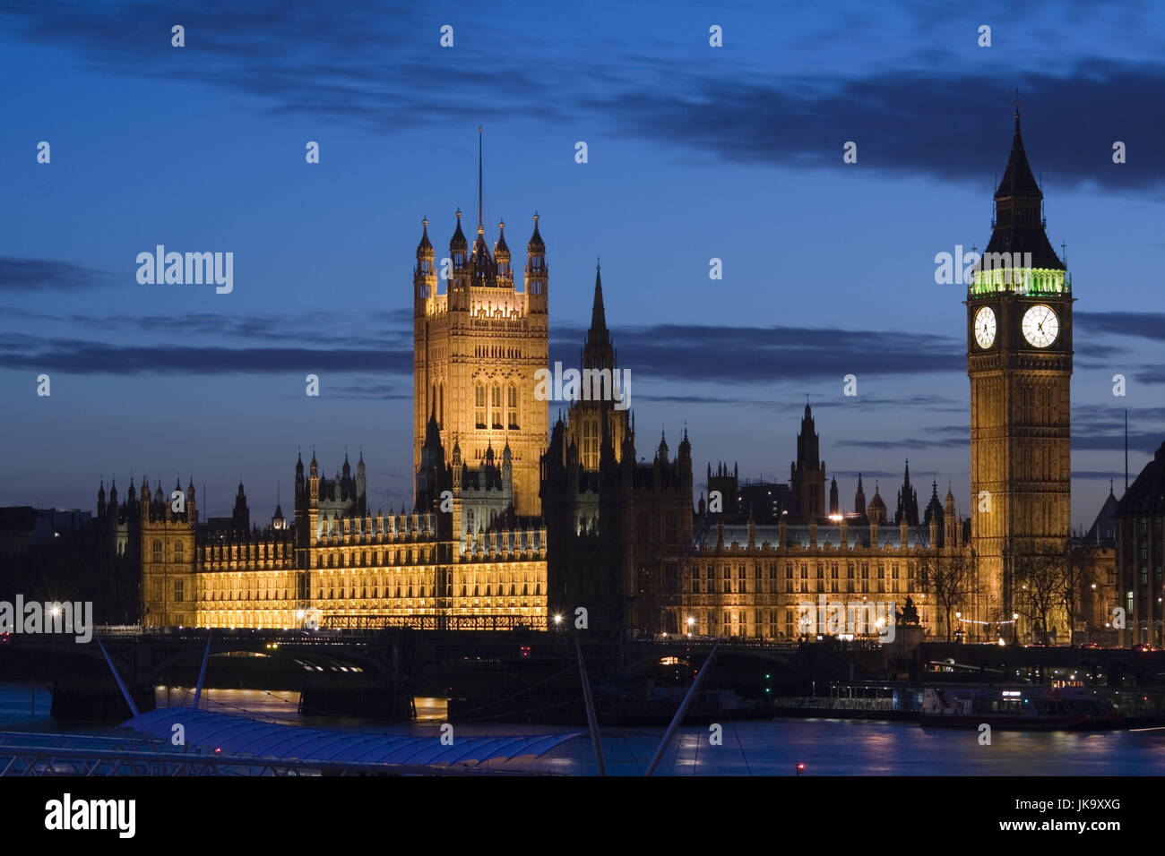 Großbritannien, England, London, Themse,  Houses of Parliament, Big Ben, beleuchtet,  Abend  Europa, Stadt, - Stock Image