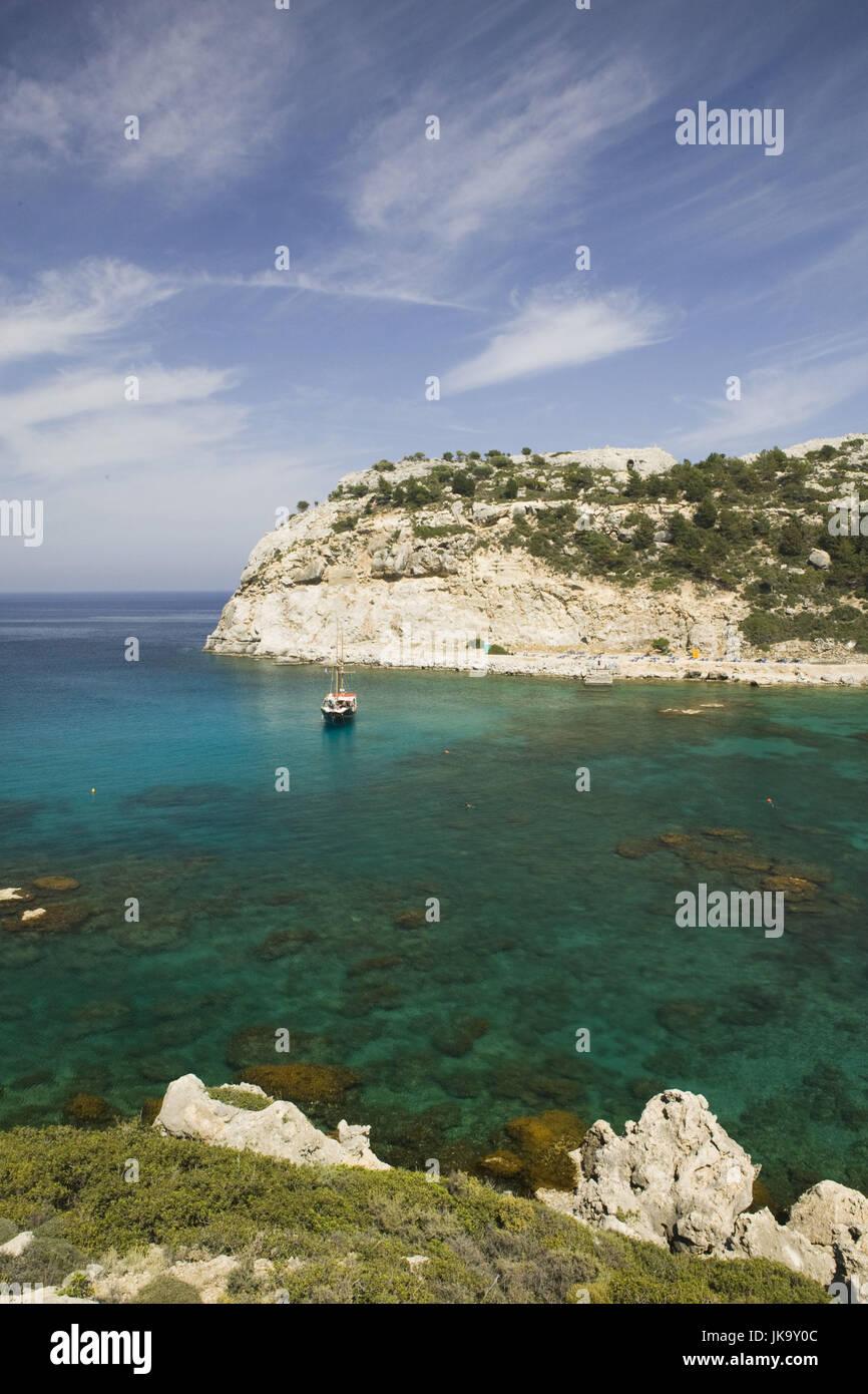 Griechenland, Rhodos, Ladiko, Anthony-Quinn-Bucht, Segelboot, - Stock Image