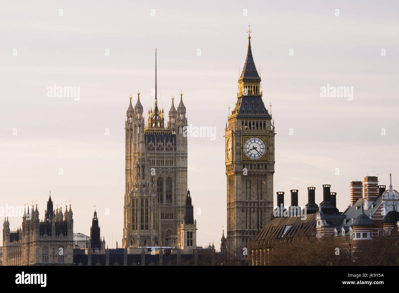 Großbritannien, England, London, Houses  of Parliament, Big Ben, Victoria Tower,  Morgen,  Europa, Stadt, Hauptstadt, Stock Photo