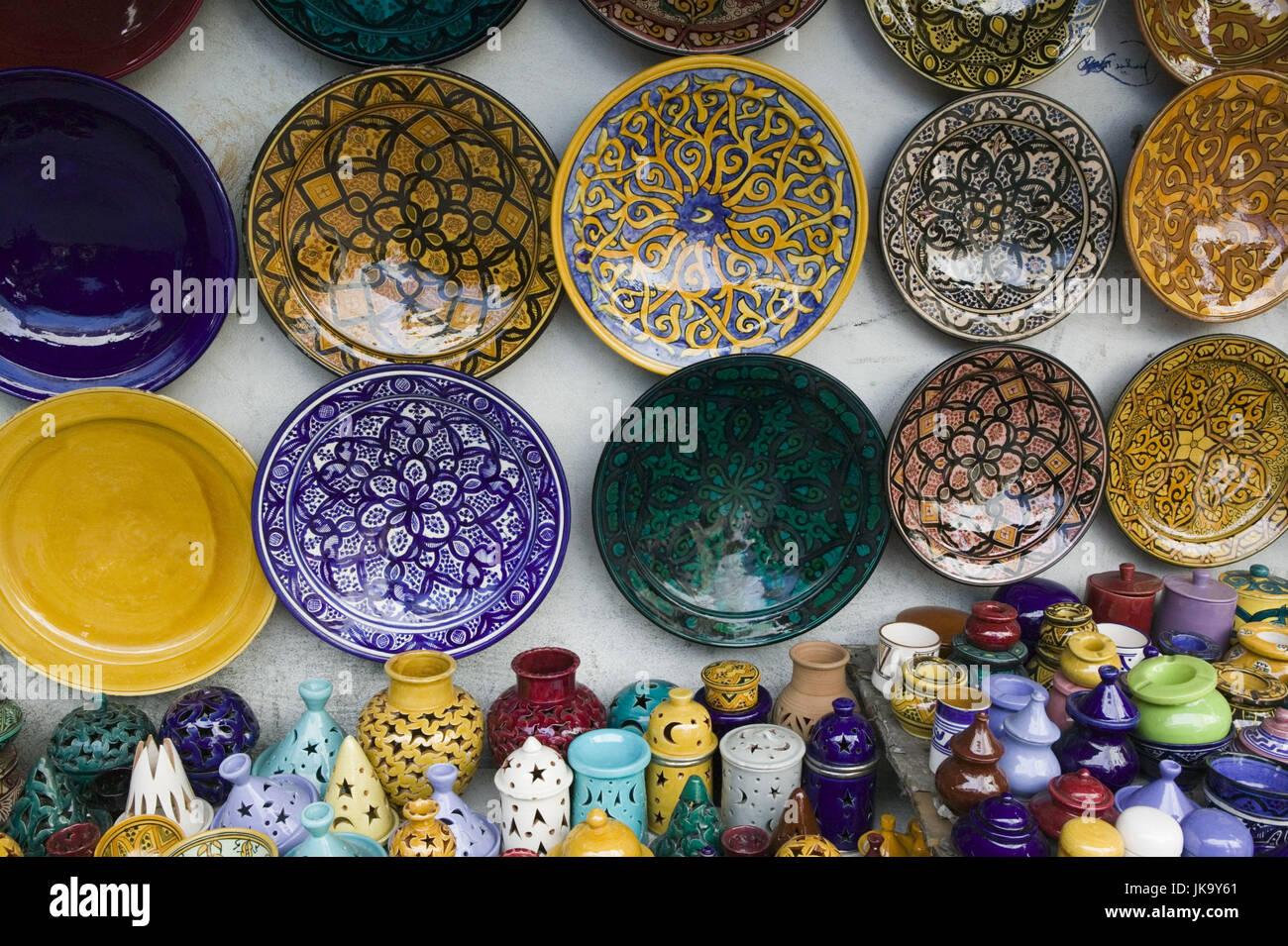 Marokko, Casablanca, Quartier Habous,  Souvenirgeschäft, Keramik, Detail,   Stadt, Stadtteil, Geschäft, - Stock Image