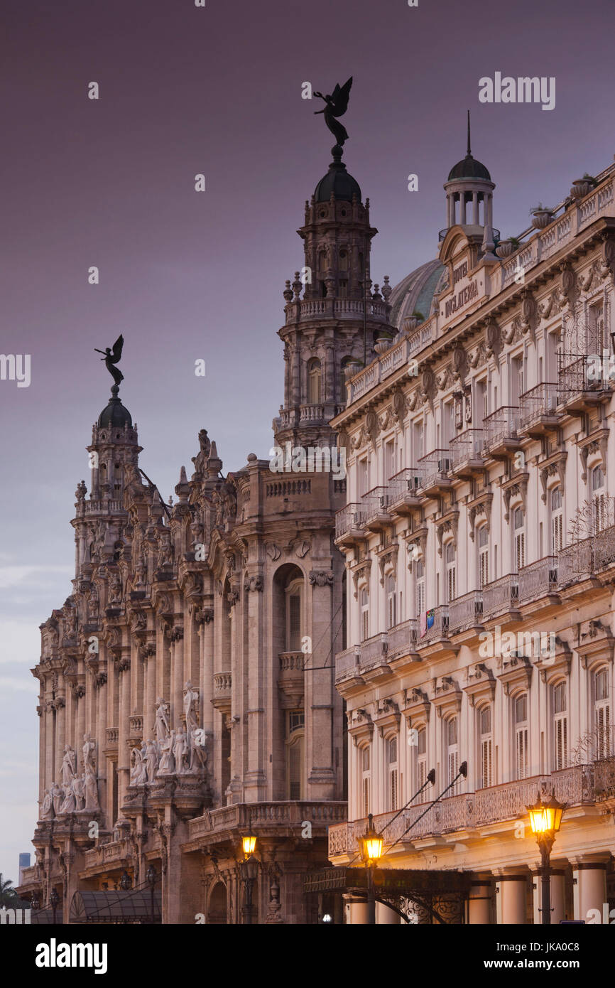 Cuba, Havana, Havana Vieja, Gran Teatro de la Habana and Hotel Inglaterra, dawn - Stock Image
