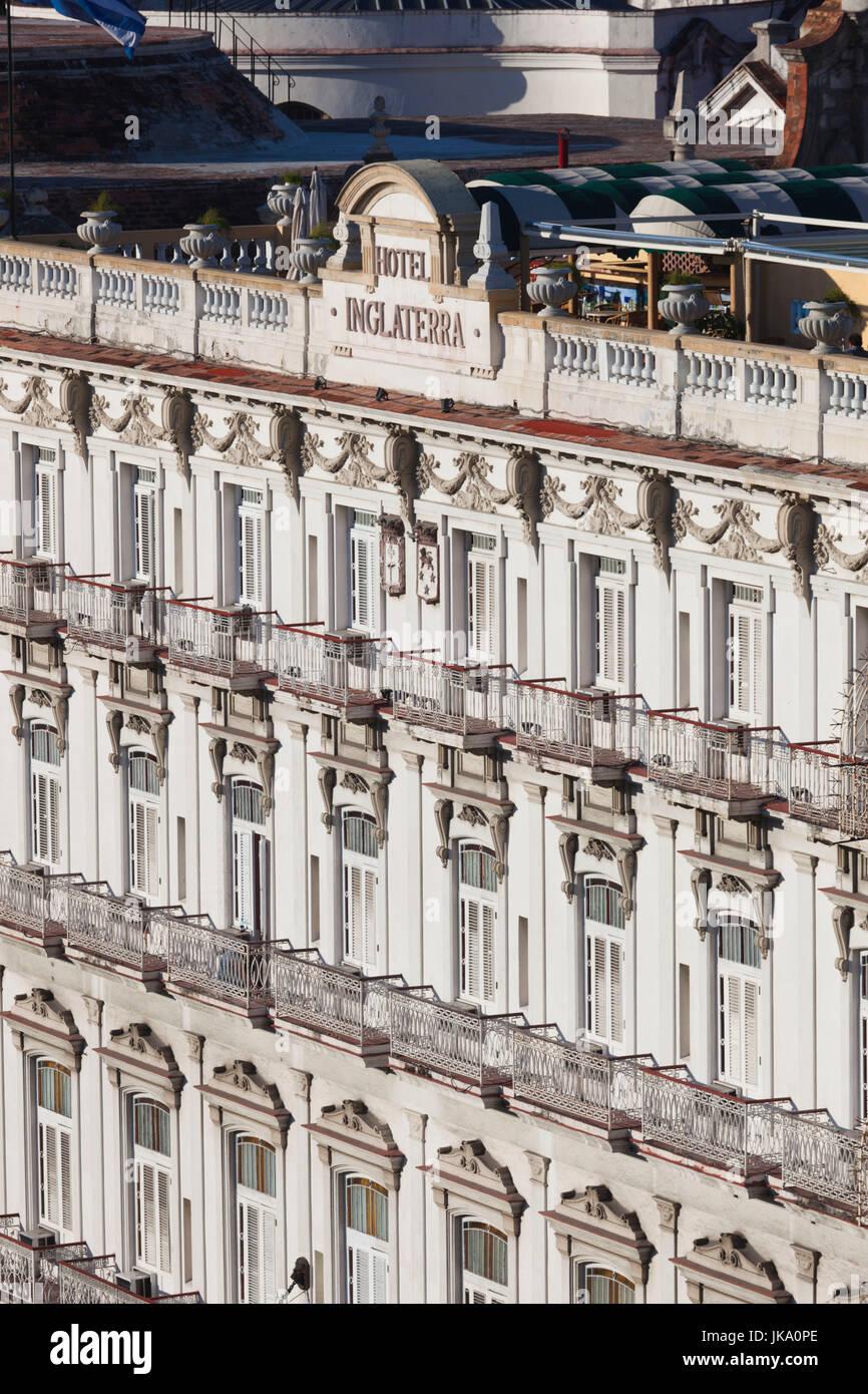 Cuba, Havana, elevated view of the Hotel Inglaterra - Stock Image