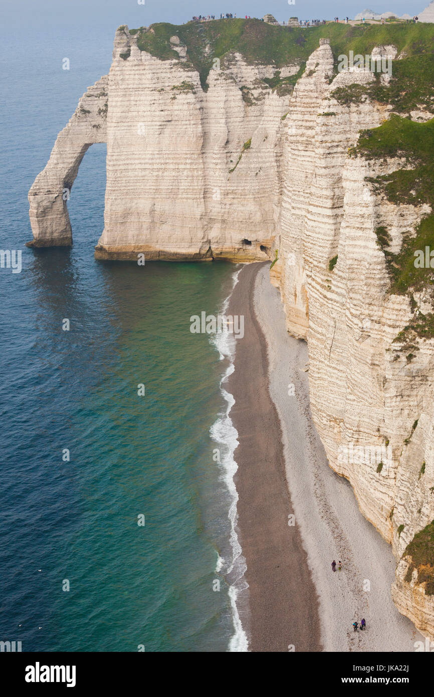 France, Normandy Region, Seine-Maritime Department, Etretat, Falaise De Aval cliffs, elevated view Stock Photo