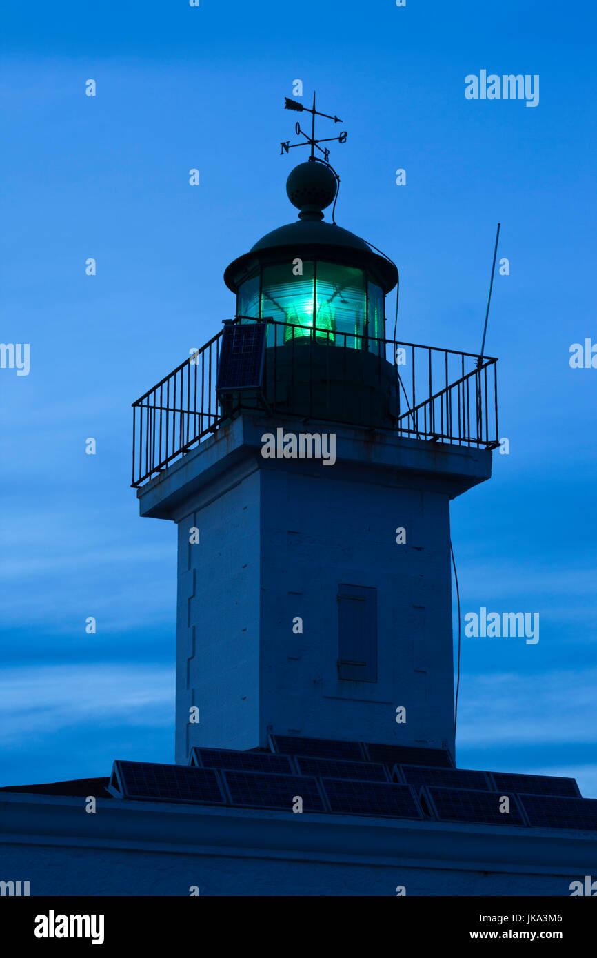 France, Corsica, Haute-Corse Department, La Balagne Region, Ile Rousse, Ile de la Pietra, lighthouse, dusk - Stock Image