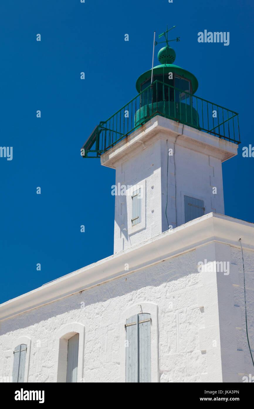 France, Corsica, Haute-Corse Department, La Balagne Region, Ile Rousse, Ile de la Pietra, lighthouse - Stock Image