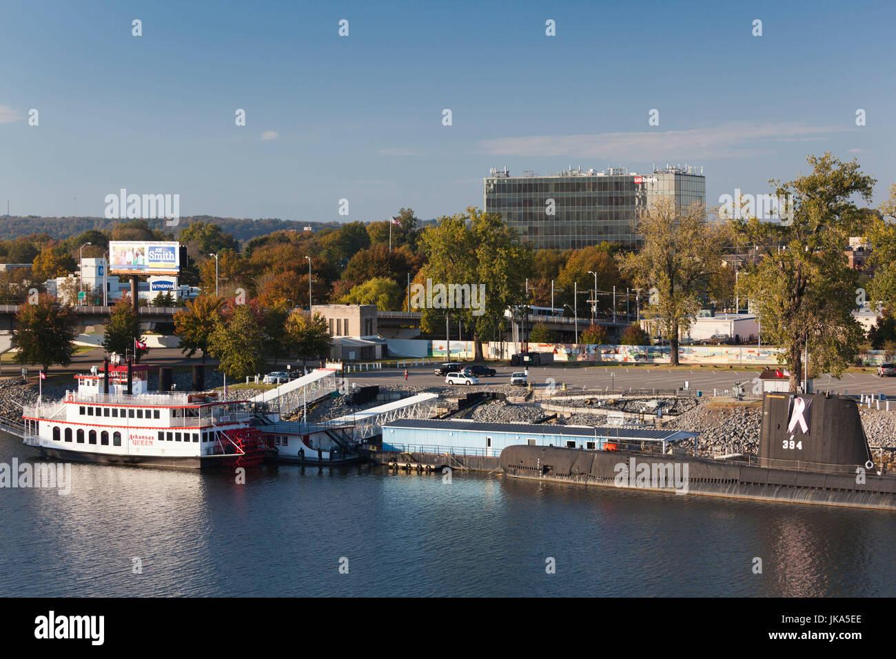 USA, Arkansas, North Little Rock, Arkansas Inland Maritime Museum and USS Razorback submarine - Stock Image