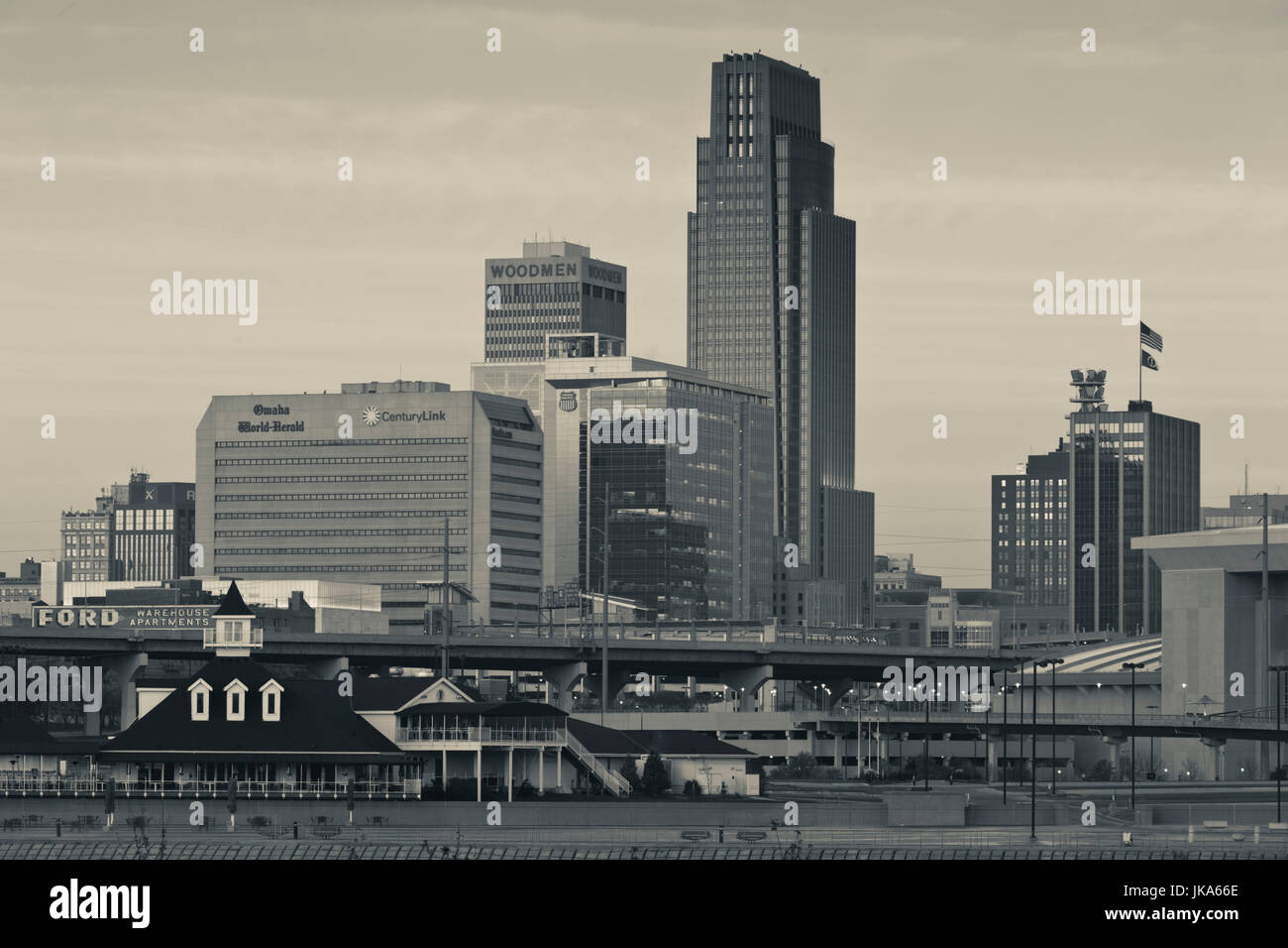 USA, Nebraska, Omaha, skyline from teh Missouri River, dawn Stock Photo