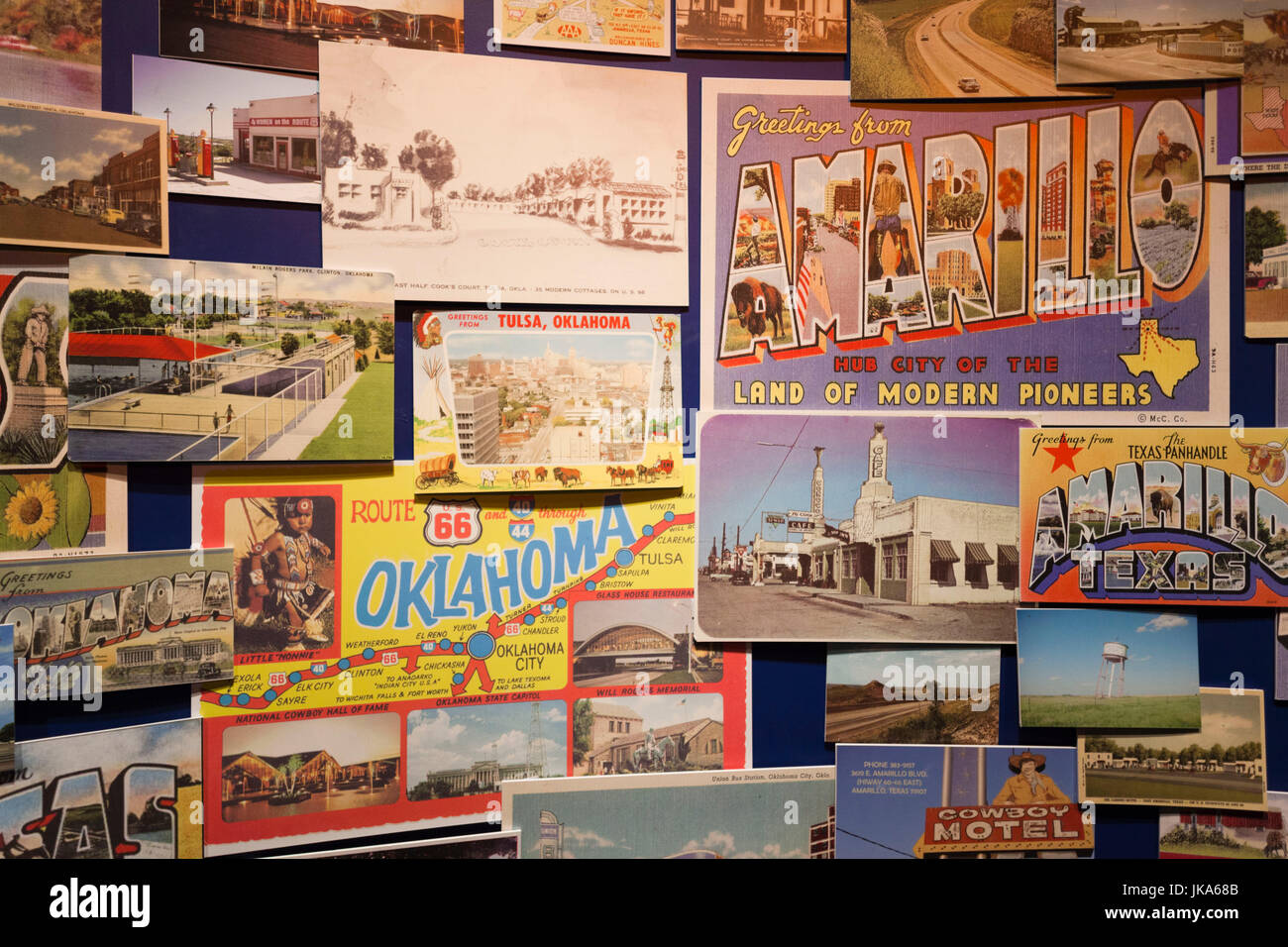 USA, Oklahoma, Clinton, Route 66 Museum, postcards - Stock Image