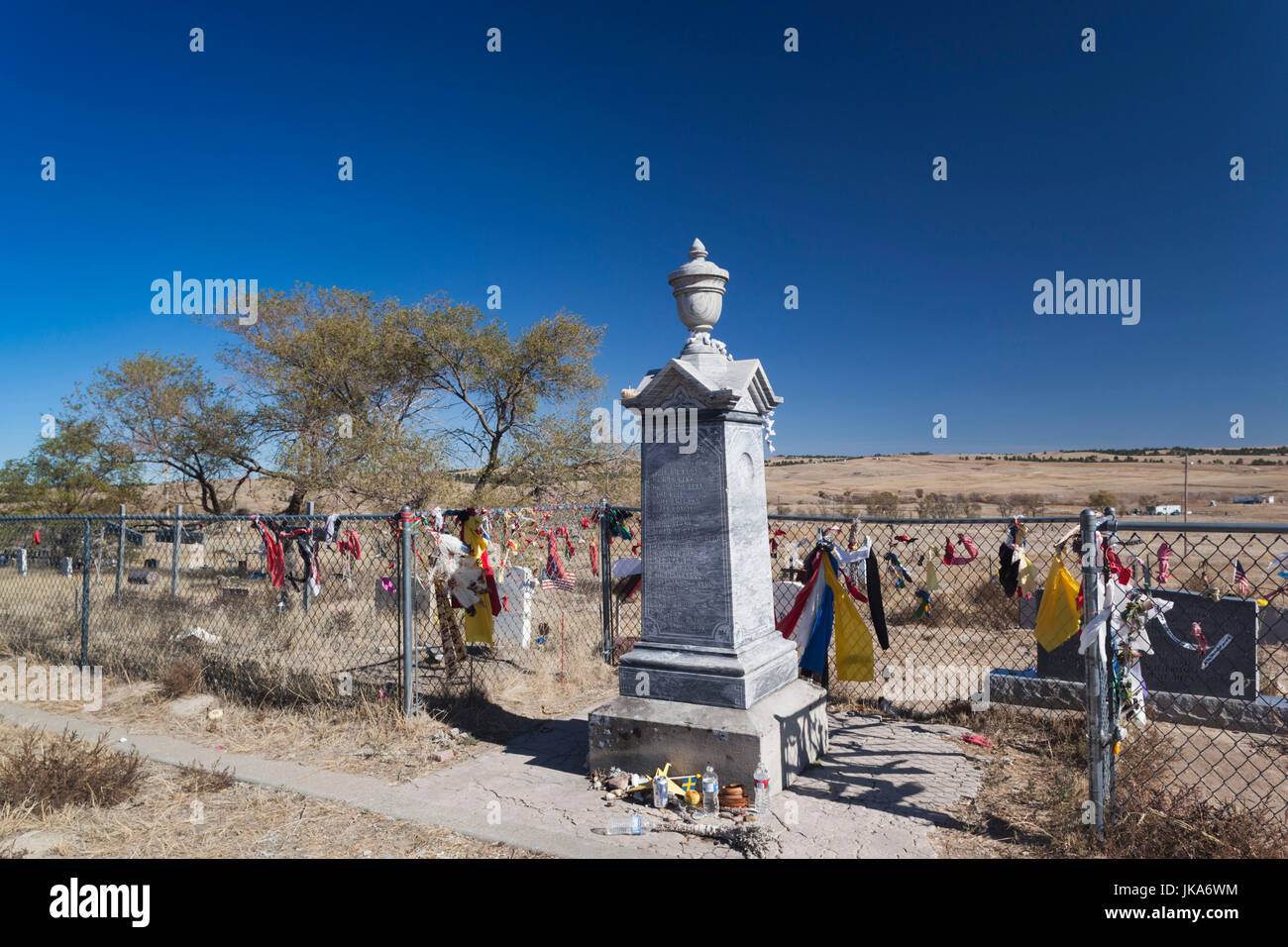 USA, South Dakota, Wounded Knee, Wounded Knee Massacre National Historic Site, cemetery of over 250 Native Americans Stock Photo