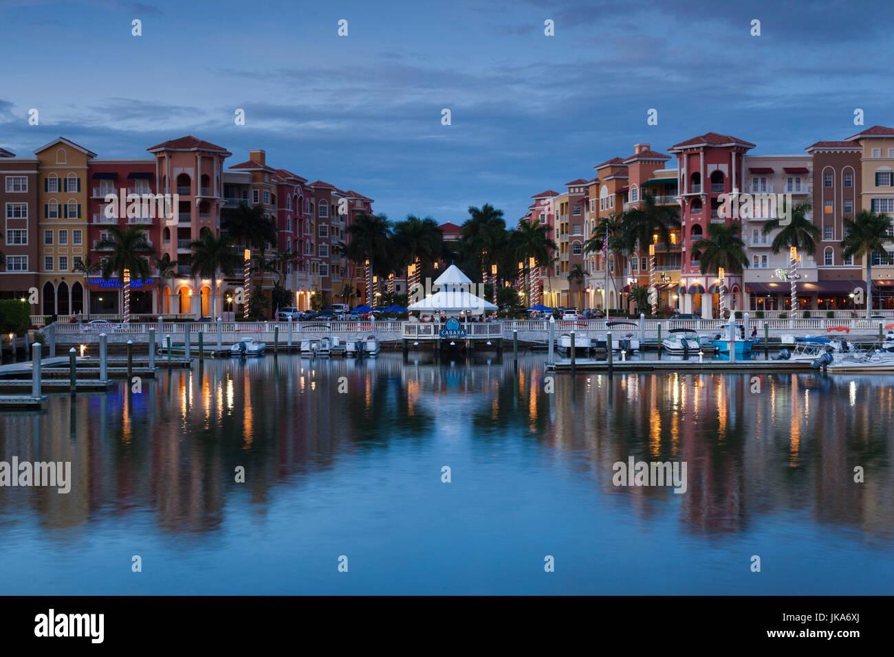 USA, Florida, Gulf Coast, Naples, Bayfront, dusk - Stock Image