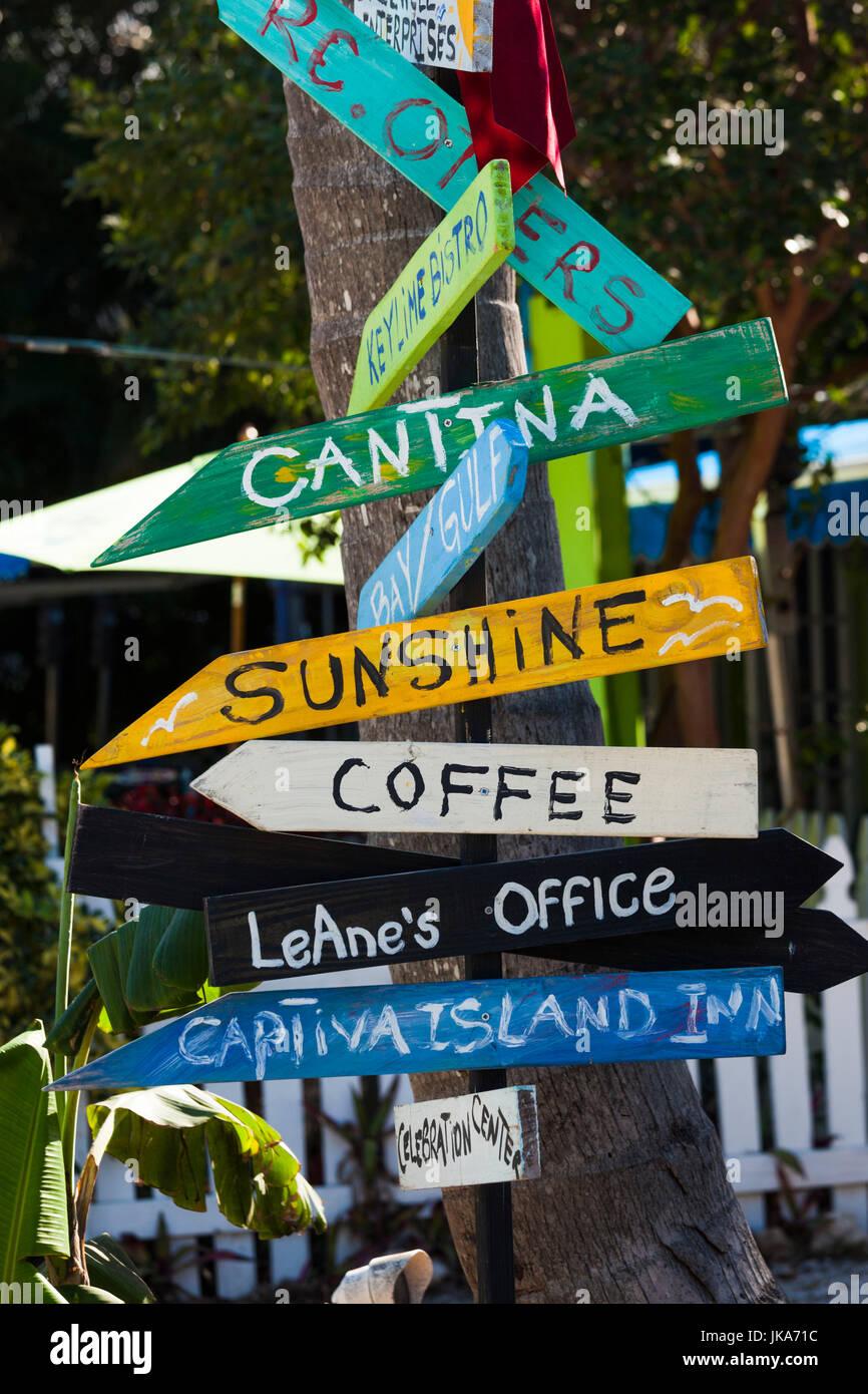 USA, Florida, Gulf Coast, Captiva Island, signpost Stock Photo