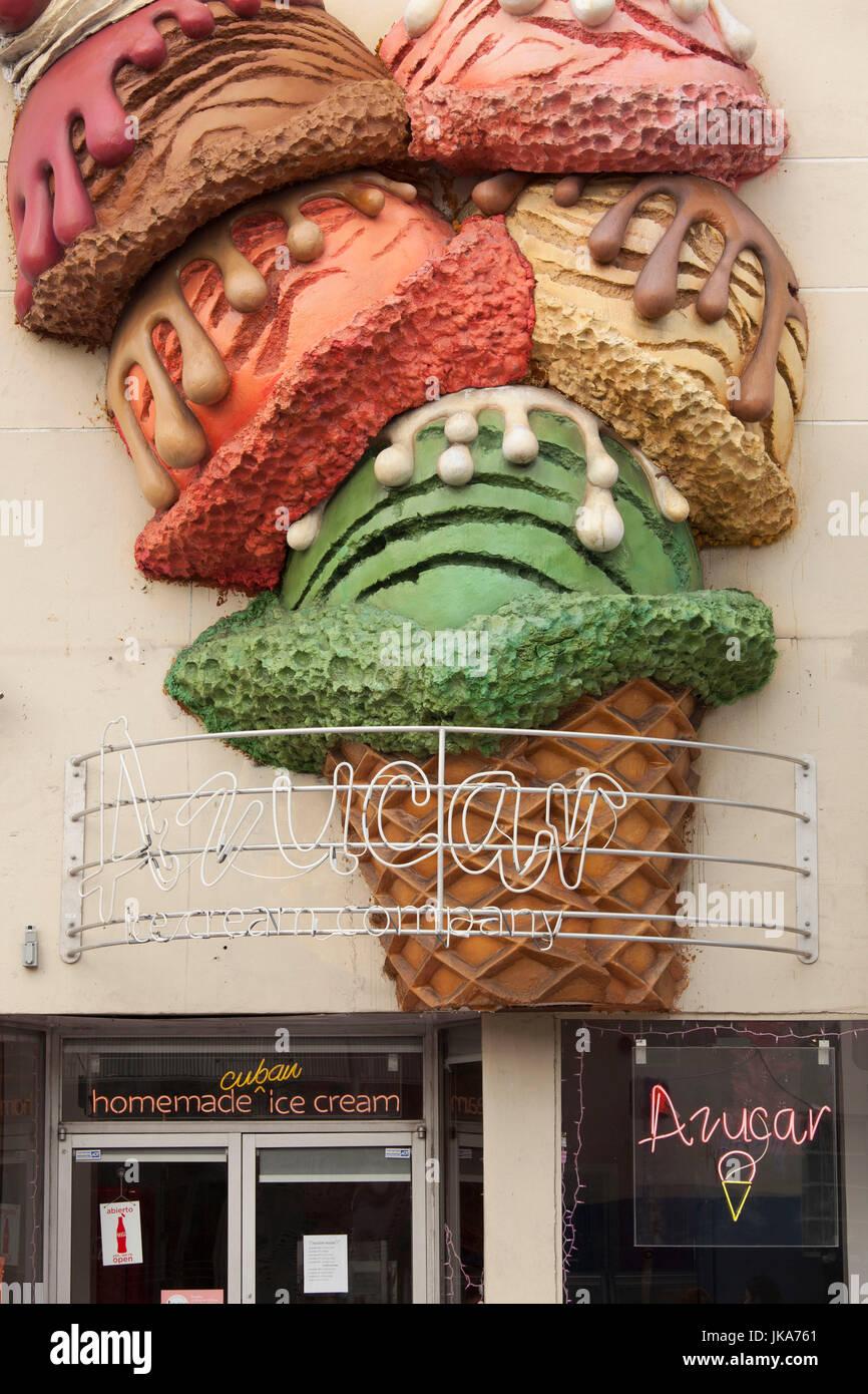 USA, Florida, Miami, Little Havana, Calle Ocho, SW 8th Street, Azucar ice cream shop - Stock Image
