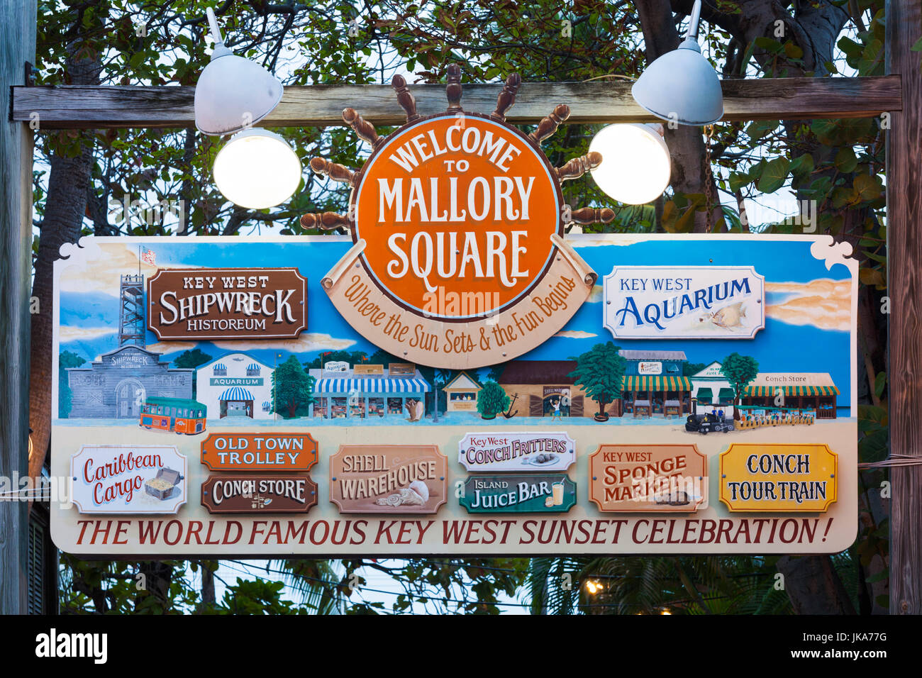 USA, Florida, Florida Keys, Key West, Mallory Square sign - Stock Image
