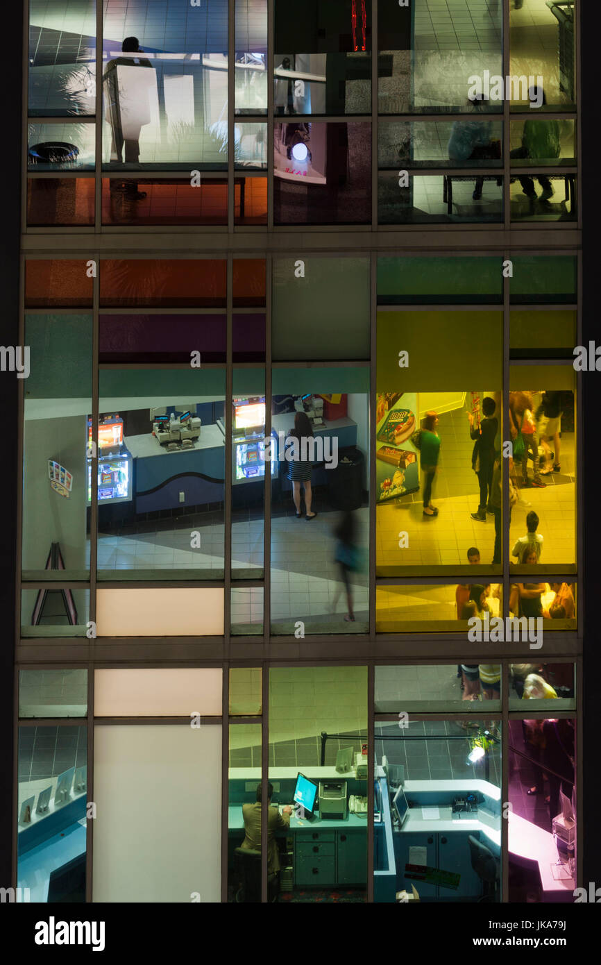USA, Florida, Miami Beach, Lincoln Road, elevated view through windows of cinema - Stock Image