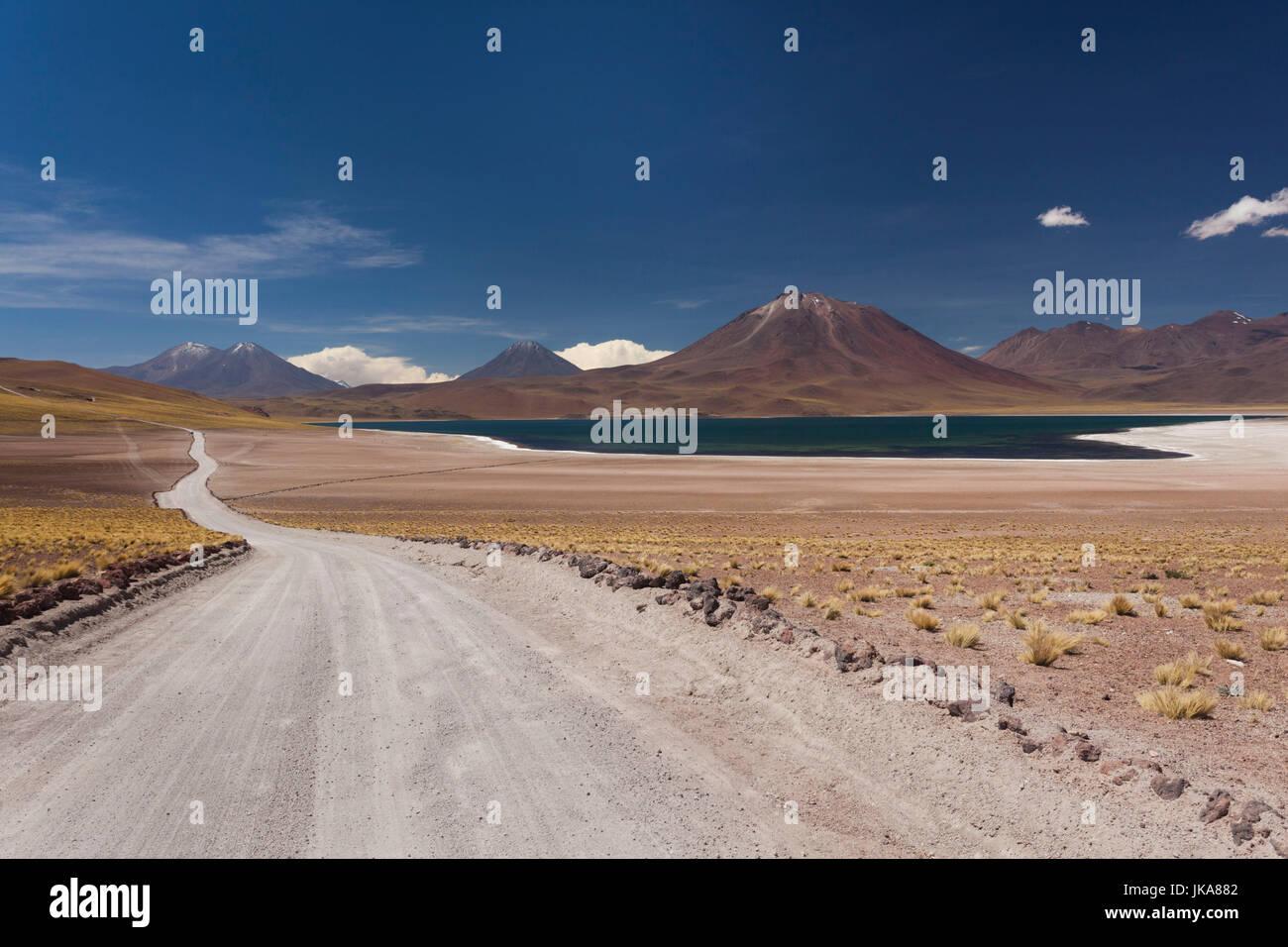 Chile, Atacama Desert, Laguna Miscanti, desert road - Stock Image
