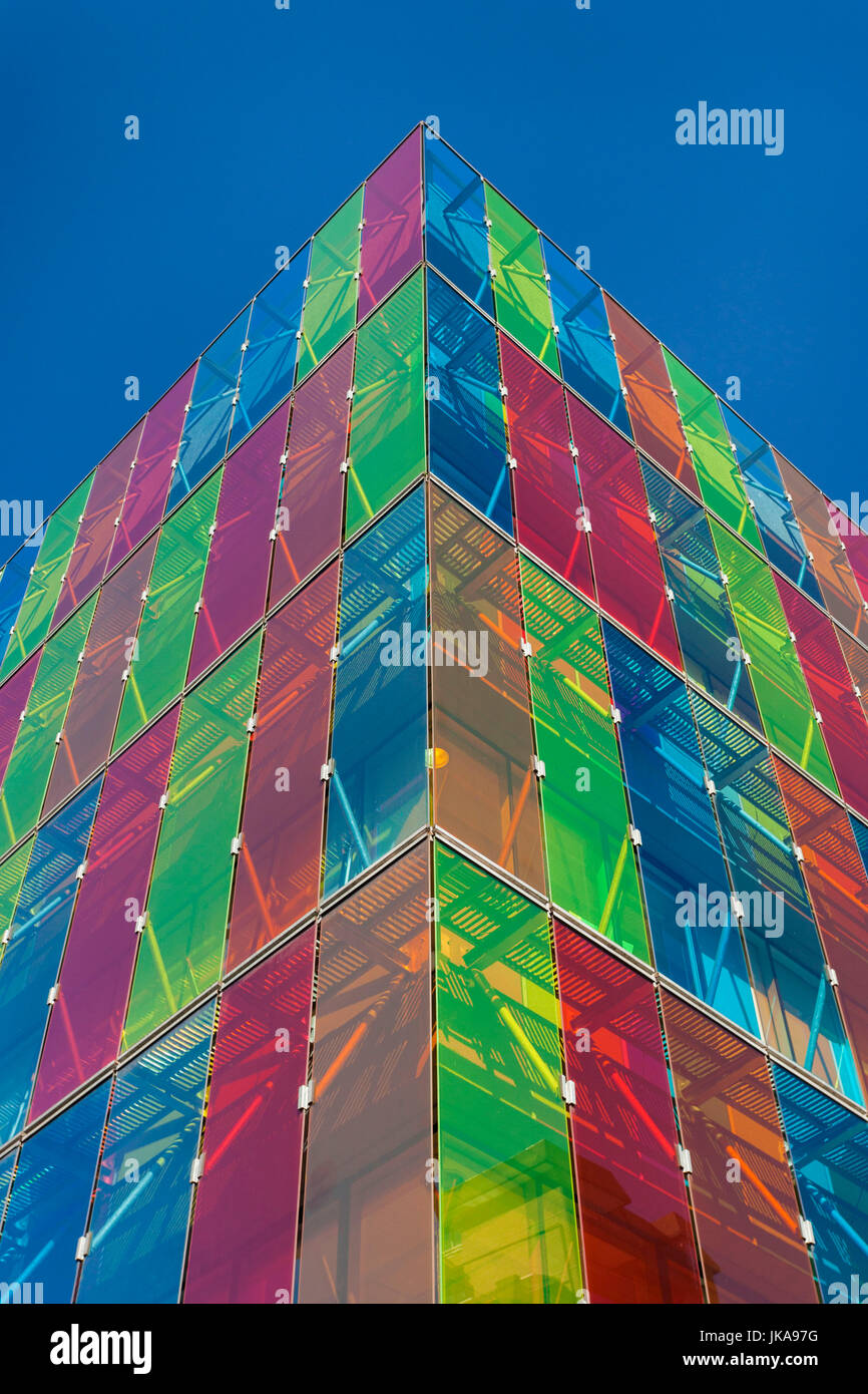 Chile, Santiago, Providencia-area, multi colored commercial building detail - Stock Image