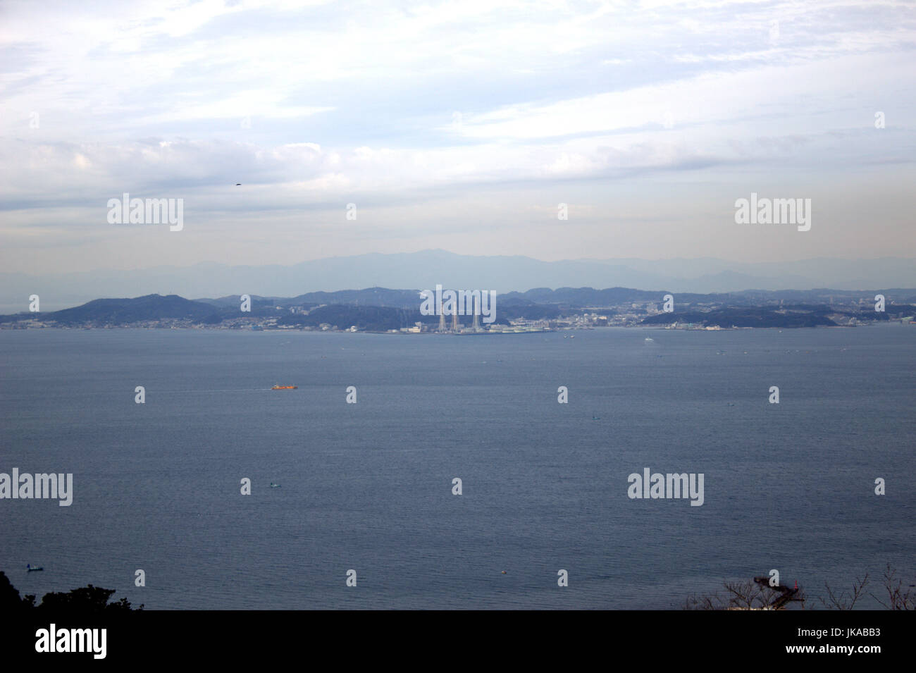 Looking across Tokyo Bay toward Kanagawa Prefecture from the top of Mt. Nokogiri - Stock Image